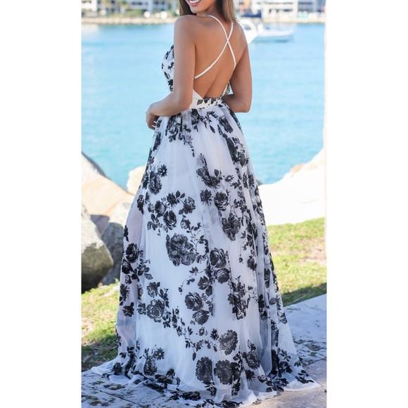 12974484e4 Luxxel Dresses   Skirts - White and Black Floral Maxi Dress